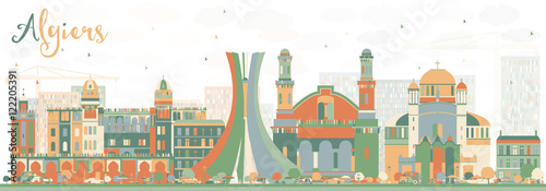 Abstract Algiers Skyline with Color Buildings. Wallpaper Mural