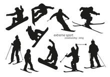 Winter Extreme Sport Silhouett...