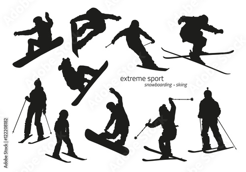 Fotografie, Obraz  Winter extreme sport silhouette - snowboarding, skiing