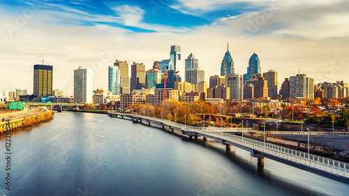 Panoramic picture of Philadelphia skyline and Schuylkill river, PA, USA Wallpaper Mural