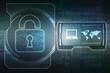 Security concept: Lock on digital screen, contrast, 2d illustration