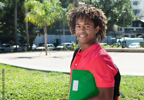 African american male student with amazing hairstyle Wallpaper Mural