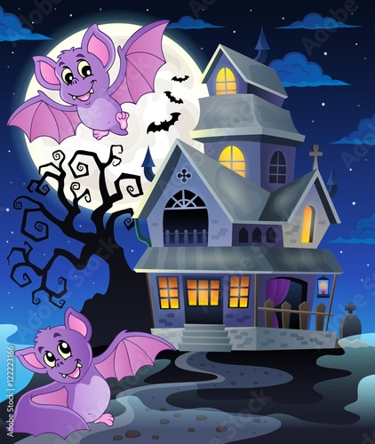 Deurstickers Pony Bats near haunted house theme 1