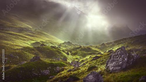 Foto auf Gartenposter Gebirge Misty mountain at dramatic cloudy morning
