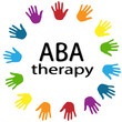 Inscription ABA therapy black lettering and colorful trees around on a white background . Treatment of autism . New rainbow Original