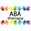 ABA therapy black letters and colorful palm on a white background . Treatment of autism . New Rainbow Original