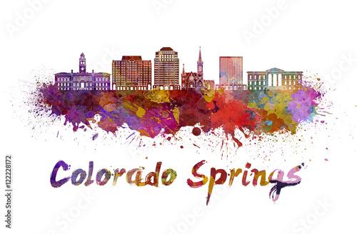 Photo  Colorado Springs V2 skyline in watercolor