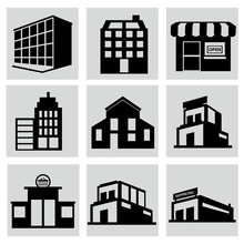 Buildings Stores And Home Icon...