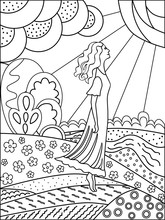 Simple Outline Drawing For Coloring. Woman And Nature.