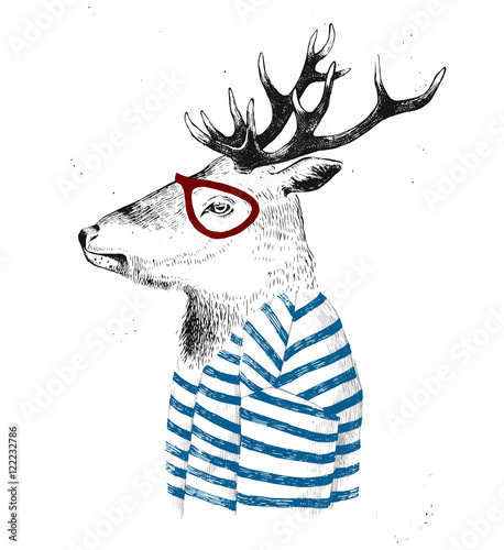dressed up deer in hipster style