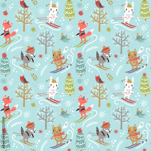 Cotton fabric Christmas seamless pattern