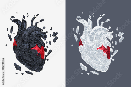 Fotografía  Stylized illustration of heart covered cracking with stone