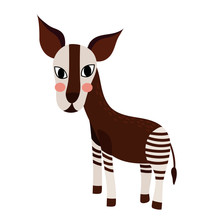 Standing Okapi Animal Cartoon Character. Isolated On White Background. Vector Illustration.