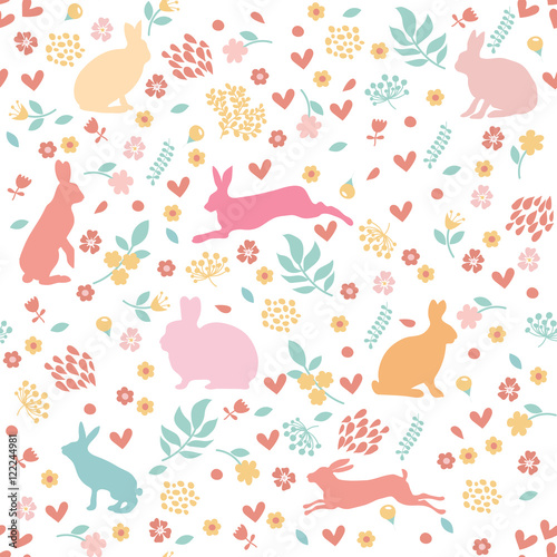Cotton fabric Rabbits in hearts and flowers.