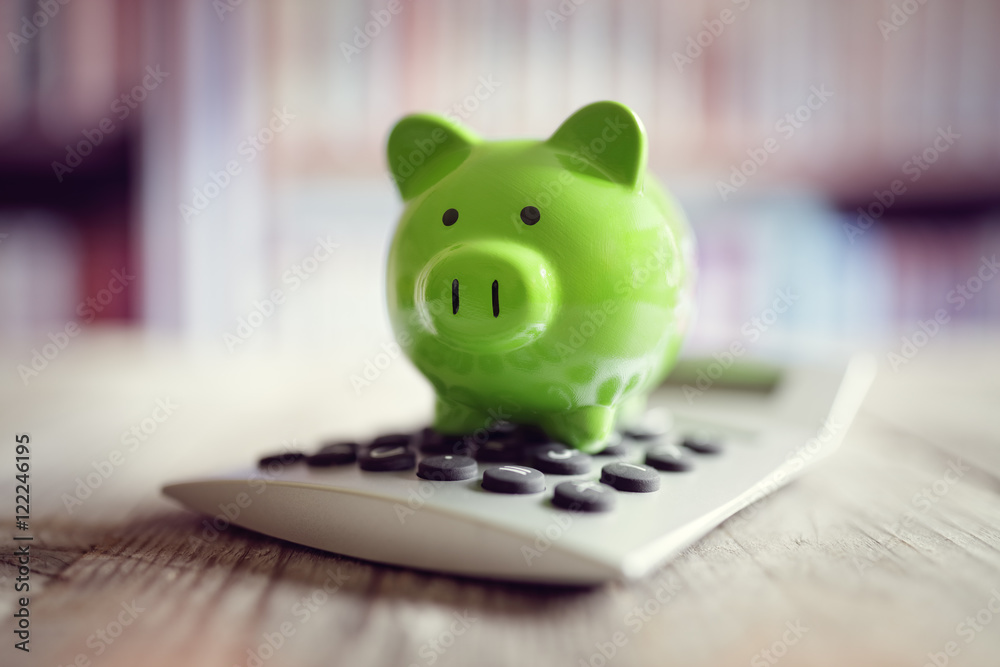 Fototapety, obrazy: Piggy bank with calculator