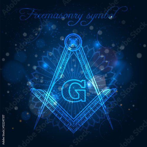 Mystical freemasony symbol on blue shining background vector illustration Slika na platnu