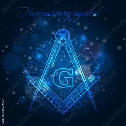 Mystical freemasony symbol on blue shining background vector illustration Wallpaper Mural
