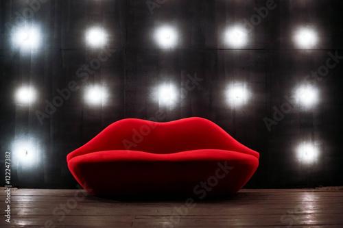 Stampa su Tela Beautiful luxury red lips sofa on grey background with lights
