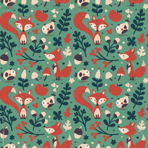 Cotton fabric Seamless cute autumn pattern made with fox, bird, flower, plant, leaf, berry, heart, friend, floral, acorn, mushroom wild