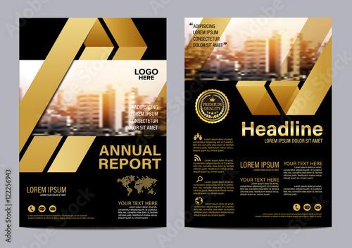 Fotografía  Gold Brochure Layout design template