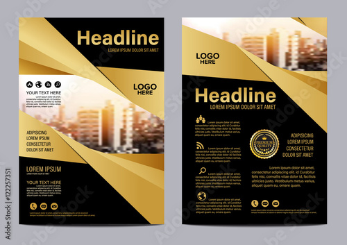 Fototapeta Gold brochure flyer annual report leaflet mock up template layout design obraz
