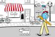 Spacer po Paryżu z psem na smyczy z bagietką w dłoni