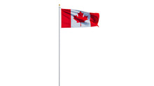 Canada Flag Waving On White Background, Long Shot, Isolated With Clipping Path Mask Alpha Channel Transparency