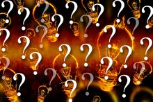 Burning Light Bulb Graphics With Question Marks