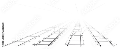 Fotomural Black Outline of tracks, sleepers and turnouts at the station