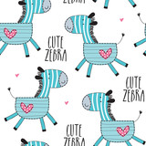 seamless cute zebra pattern vector illustration