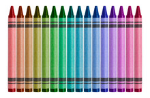 Multi-colored Wax Crayons Isolated On White Background For Use Alone Or As A Design Element