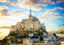 Close Up Of Mont Saint Michel On Sunset, France Retro Toned