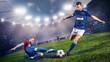 Leinwandbild Motiv Duell im Fußball