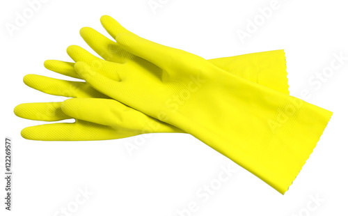Fototapeta Rubber washing cleaning gloves on white