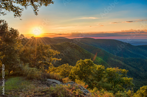 Poster de jardin Parc Naturel Sunrise in the Blue Ridge