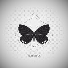 Butterfly On An Doted Mesh. Halftone Background. Illustration With Geometric Abstract Elements. Hipster Vector Art.