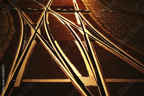 Poster  Surface Level Of Tram Tracks On Street