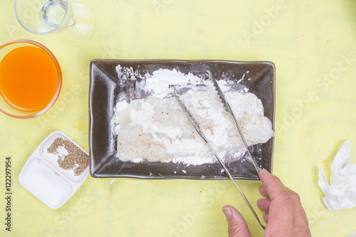 Photo  Prepared fillet of  Dory fish mixed flour