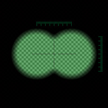 Vector Illustration. Binocular Night Green View Transparent With Soft Edges And Crosshair. Design Concept For Film, Web, Graphic .