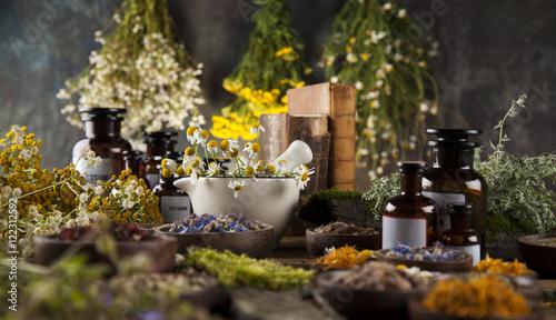 Fotografie, Obraz  Alternative medicine, dried herbs and mortar on wooden desk back