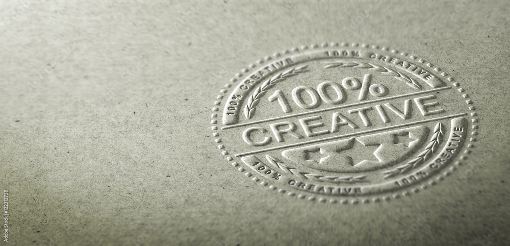 Fototapety, obrazy: 3D illustration of an embossed stamp with the text 100 percent creative. Background for communication on creativity and innovation in graphic design