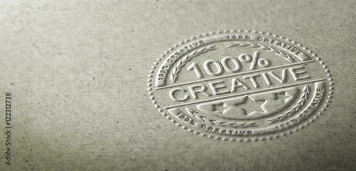 Plakat  3D illustration of an embossed stamp with the text 100 percent creative