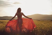 Beauty Romantic Girl Outdoors. Beautiful Teenage Model Dressed In Long Pink Dress On The Field In Sun Light. Blowing Long Hair. Autumn. Glow Sun, Sunshine. Backlit. Toned In Warm Colors