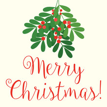 Merry Christmas Mistletoe Illustration - Vector Eps10