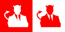 Icono Plano Demonio Con Traje Rojo
