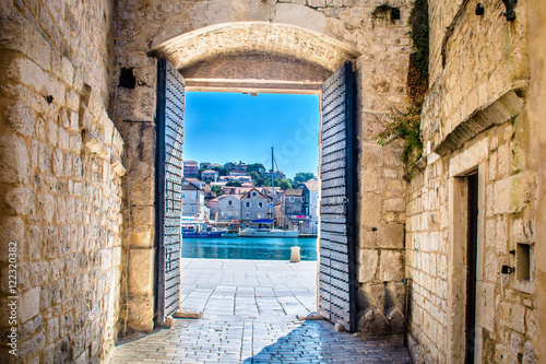 Poster Mediterraans Europa City gate Trogir. / View at mediterranean town Trogir in Croatia, Europe.