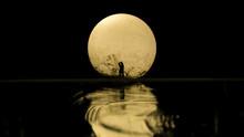 Silhouette Of Couple Kissing U...