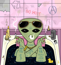 Alien Smoke And Chill In Bath. Psychedelic Vector Illustration