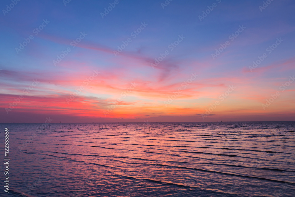 Fototapety, obrazy: Sky and Seacoast after sunset, beautiful natural skyline after sunset