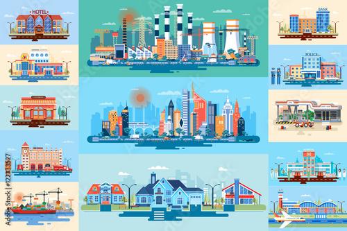 Set vector city elements - 122333527